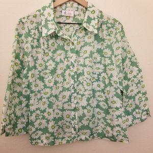 Denim & Co Floral Blouse - Lg